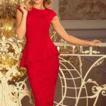 Elegantní červené midi šaty s volánkem 192-5