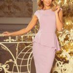 Elegantní dámské midi šaty v barvě lila s volánkem 192-2