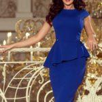 Elegantní dámské midi šaty v chrpové barvě s volánkem 192-7