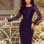 Elegantní dámské tmavě modré tužkové šaty s krajkou 216-1 EMMA