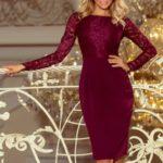 Elegantní tužkové šaty v bordó barvě s krajkou 216-3 EMMA