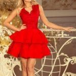 Exkluzivní červené dámské šaty s krajkovým výstřihem 200-4 CHARLOTTE