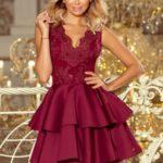 Exkluzivní dámské šaty v bordó barvě s krajkovým výstřihem a pěnou 207-1 ALEXIS