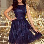 Exkluzivní dámské tmavě modré rozšířené šaty s výšivkou 173-3