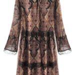 Hnědé vzorované šifonové šaty (187ART)