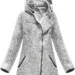 Kabát v bílé melanžové barvě s asymetrickým zipem (174ART)