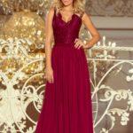 LEA – Dlouhé dámské šaty v bordó barvě bez rukávů, s krajkovým výstřihem 211-2