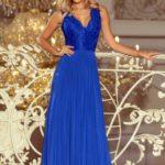 LEA – Dlouhé dámské šaty v chrpové barvě bez rukávů, s krajkovým výstřihem 211-3