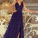 LEA – Dlouhé tmavě modré dámské šaty bez rukávů s vyšívaným výstřihem 215-2