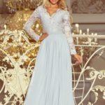 MADLEN – Dlouhé dámské šedé šaty s krajkovým výstřihem a dlouhými rukávy 214-2