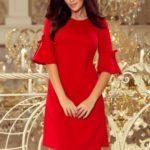 NEVA – Červené dámské trapézové šaty s rozšířenými rukávy 217-1