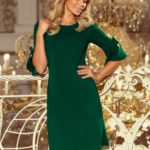 NEVA – Dámské trapézové šaty v lahvově zelené barvě s rozšířenými rukávy 217-2