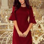 NEVA – Trapézové šaty v bordó barvě s rozšířenými rukávy 217-3