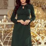 OLA – Dámské trapézové šaty v lahvově zelené barvě se zavazováním pod krkem 158-3