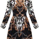 Rozšířené dámské černo-bílé šaty se stojáčkem (169ART)