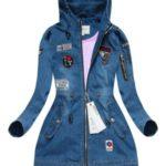 Tmavě modrá džínová bunda s nášivkami 4 (W514)