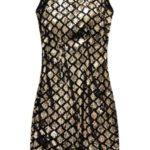 Velurové šaty v černo-zlaté barvě s flitry (3870)