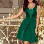 Zelené šaty s krajkovým dekoltem 208-4