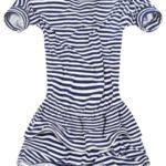 Bavlněné dámské šaty s tmavě modro-bílými proužky (11759/2)
