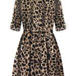 Béžové dámské košilové šaty se zvířecím vzorem (266ART)