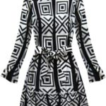 Černo-bílé dámské šaty s geometrickými vzory (163ART)