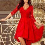 Červené dámské šaty NICOLLE s delším zadním dílem a krajkovým výstřihem 210-6