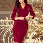 KELLY – Elegantní dámské šaty v bordó barvě s výstřihem 237-2