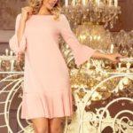 LUCY – Pohodlné dámské plisované šaty v broskvové barvě 228-1