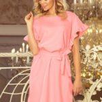 ROSE – Dámské šaty v pastelově růžové barvě se zavazováním a s volánky na rukávech 229-1