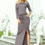 Šedé dámské sportovní šaty v maxi délce s rozparkem 220-6