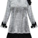 Světle šedé šaty s volánky (167/1ART)