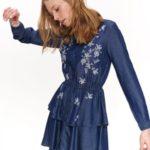 Top Secret Šaty dámské jeans s květinovým vzorem