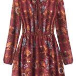 Vzorované dámské šifonové šaty v bordó barvě (10606/1)