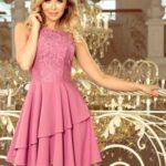 XENIA – Dámské šaty v lila barvě s volánkem a krajkou 236-1