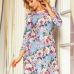 ALICE – Dámské světle modré květované šaty s mašličkami 195-9