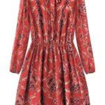 Červené květované šifonové šaty (10606)