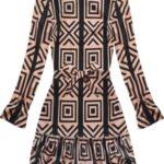 Dámské šaty v černo-lososové barvě s geometrickými vzory (163/1ART)