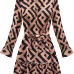 Dámské šaty v černo lososové barvě s geometrickými vzory (163ART)