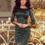 Dámské světle zelené krajkové šaty s ozdobným lemováním 180-3