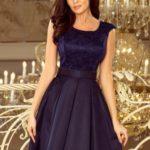 FLORA – Tmavě modré dámské šaty s kulatým výstřihem a krajkou 244-2