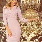 KELLY – Elegantní dámské šaty v lila barvě s výstřihem 237-1
