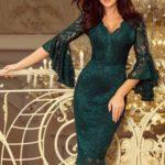 Krajkové dámské šaty v lahvově zelené barvě s rozšířenými rukávy 234-2