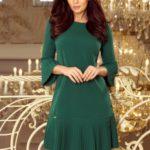 LUCY – Pohodlné dámské plisované šaty v lahvově zelené barvě 228-2