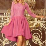 OLIVIA – Dámské šaty v lila barvě s krajkou a delším zadním dílem 231-2