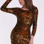 Šaty v barvě mědi EVA&LOLA 10010-4