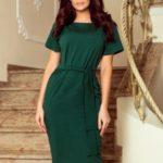 VERA – Dámské šaty v lahvově zelené barvě, v délce midi, s krátkými rukávy 248-1