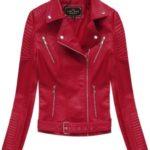 Červená bunda ramoneska s přezkou (5378)