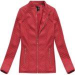 Červená prošívaná bunda ramoneska se stojáčkem (5087BIG)