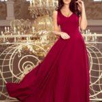 CINDY – Dlouhé dámské šaty v bordó barvě s dekoltem 246-1