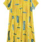 Dámské bavlněné oversize šaty v hořčicové barvě (340ART)